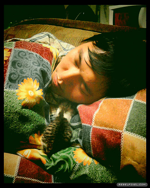 Sharing a sleepy moment with me.